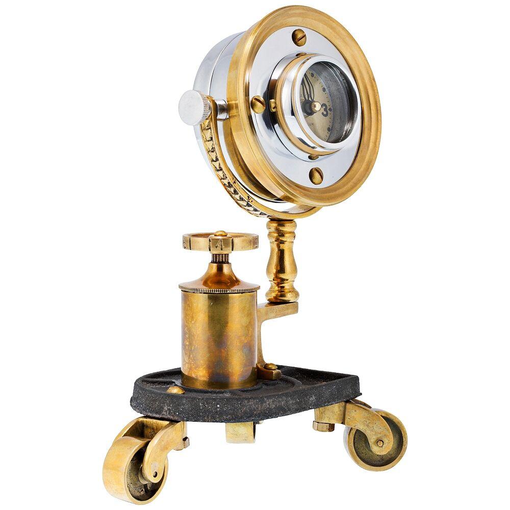 "Universal Lighting and Decor Gizmo 10"" High Antique Brass Pivot Retro Table Clock - Style # 11V53"