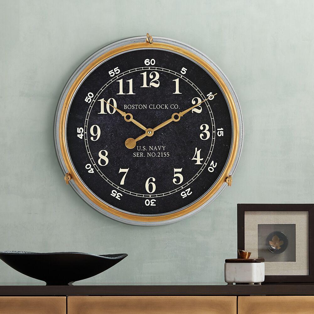 "River Parks Studio Boston 17 1/2"" Metal US Navy Replica Wall Clock - Style # 31D82"
