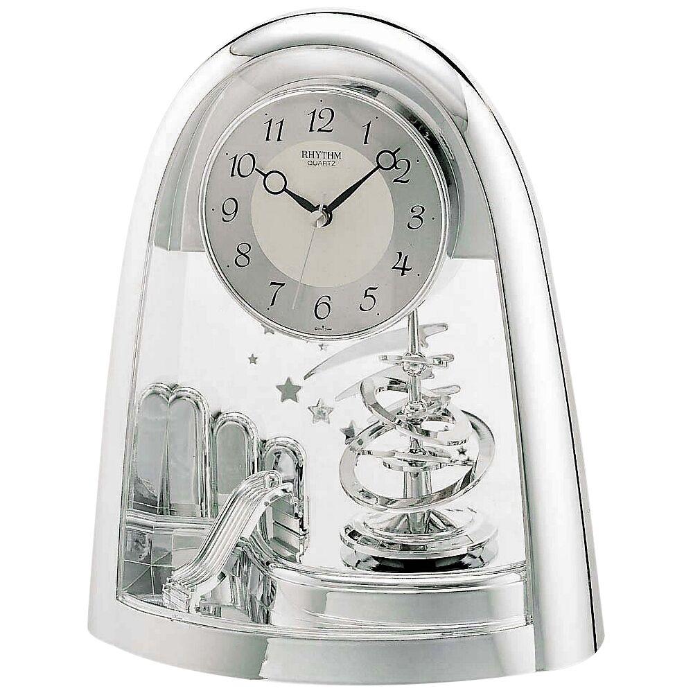 "Rhythm USA Silver Space in Motion 9 1/2"" High Chrome Table Clock - Style # 44E65"
