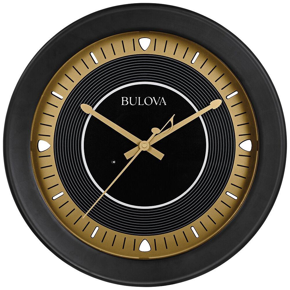 "Bulova Long Play Satin Black 18"" Round Bluetooth Outdoor Wall Clock - Style # 58C47"