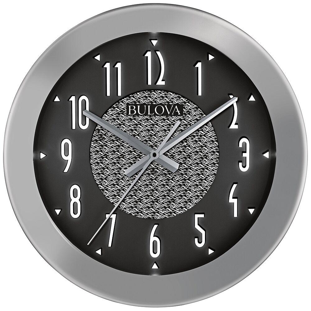 "Bulova Fantasmic Silver 18"" Round Bluetooth Outdoor Wall Clock - Style # 58C69"
