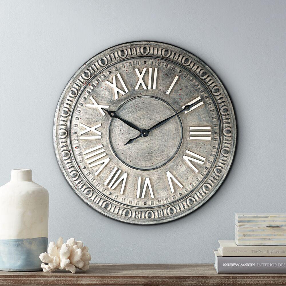 "River Parks Studio Romana 34 1/2"" Wide Gray Roman Numeral Metal Wall Clock - Style # 64K63"