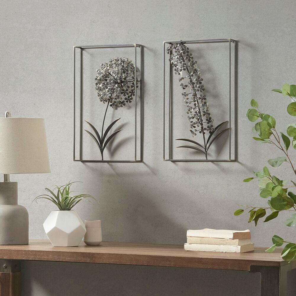 """Universal Lighting and Decor Metal Garden 19 3/4"""" High 2-Piece Framed Metal Wall Art Set - Style # 97K39"""
