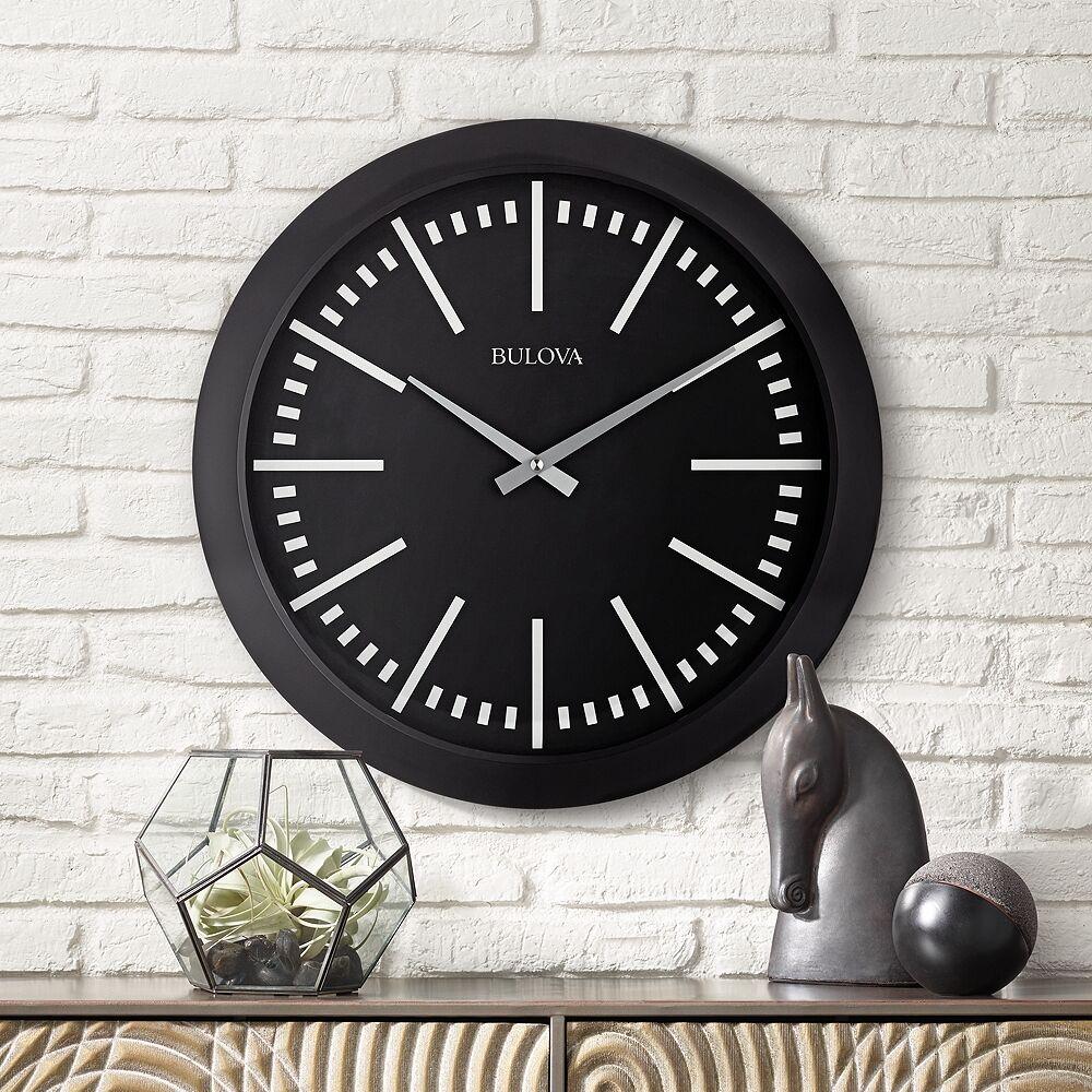 "Bulova Sound Around Matte Black 16""W Bluetooth Wall Clock - Style # 9D462"