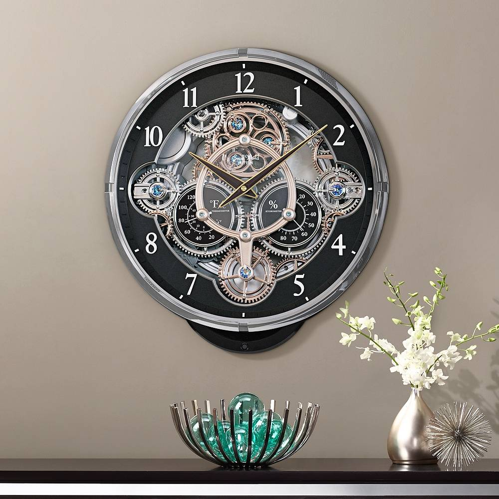 """Rhythm USA Gadget 16 1/4"""" High Chiming Wall Clock with Thermometer - Style # 9Y526"""