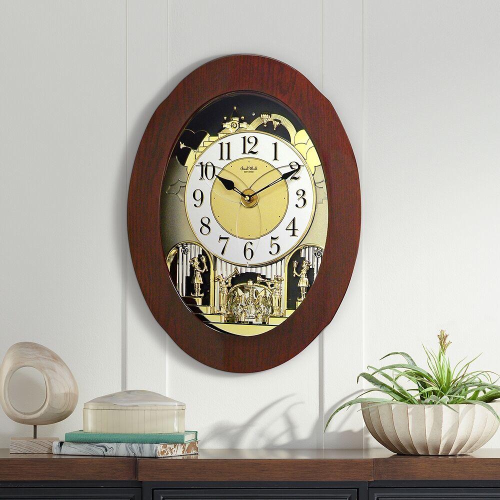 """Rhythm USA Grand Nostalgia 20 3/4"""" High Musical Chime Wall Clock - Style # 9Y528"""