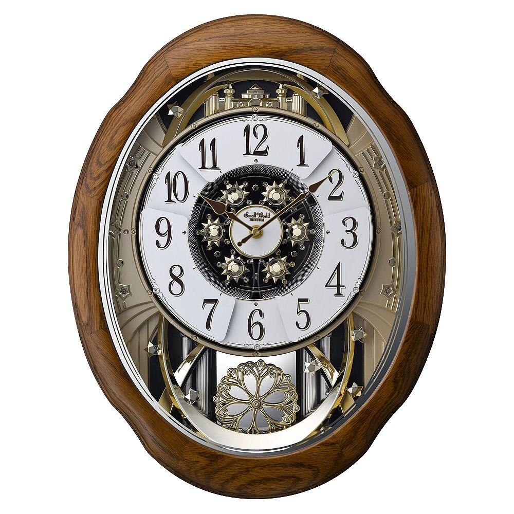 """Rhythm USA Joyful Meditation Oak 21"""" High Musical Motion Wall Clock - Style # 9Y532"""