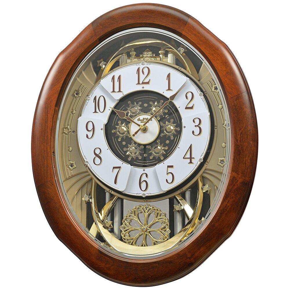 """Rhythm USA Magnificent Walnut 21"""" High Musical Motion Wall Clock - Style # 9Y533"""