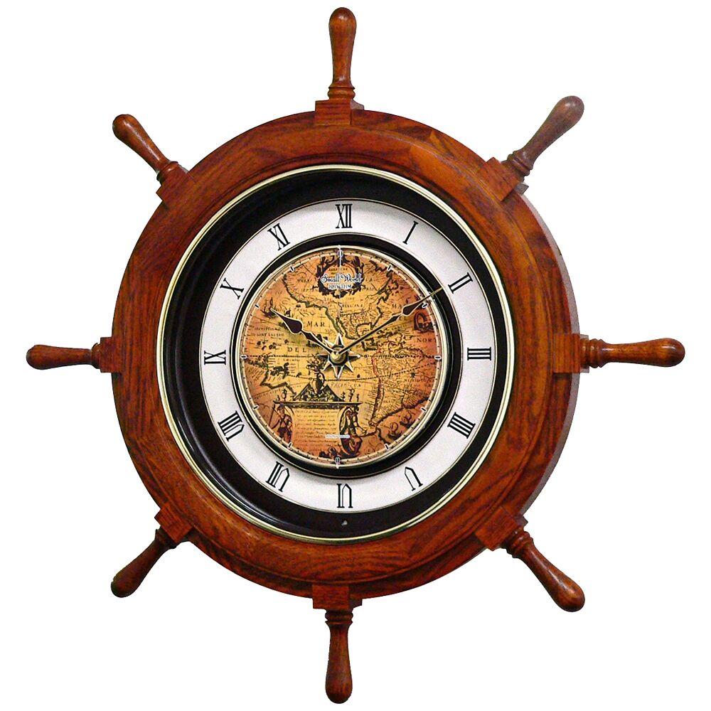 "Rhythm USA Voyager 25"" Ships Wheel Musical Motion Wall Clock - Style # 9Y545"