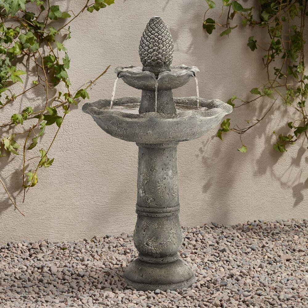 "John Timberland Pineapple Garden 35""H Gray 2-Tier Indoor/Outdoor Fountain - Style # 17V85"
