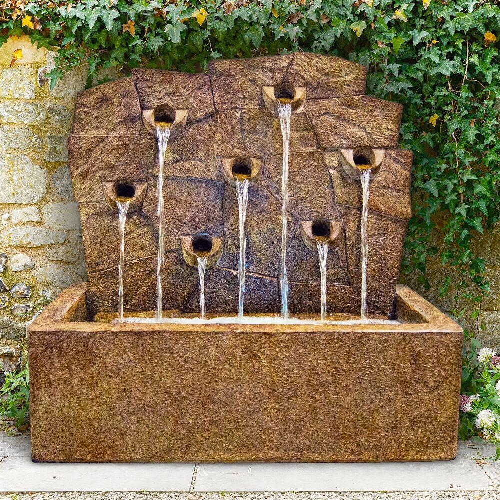"Henri Studio Rock Wall 34"" Cast Stone Rustic Garden Fountain with Light - Style # 65F19"