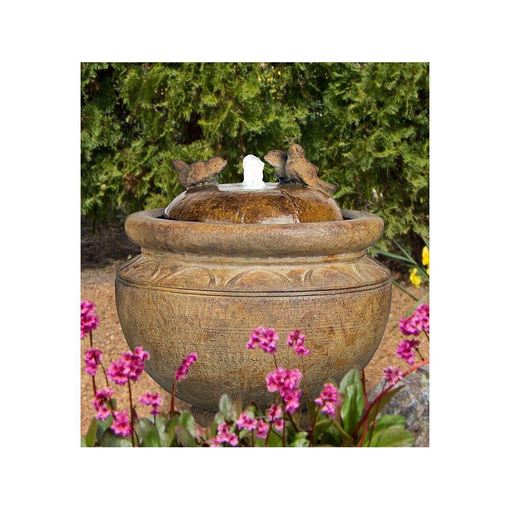 "Henri Studio Garden Birds 19"" High Patio Bubbler Fountain with LED Light - Style # 65F35"