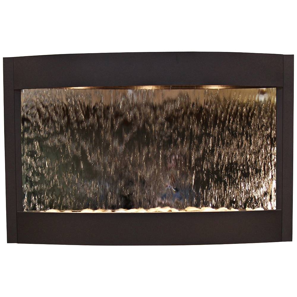 "Adagio Calming Waters Mirrored Textured Black 35""H Wall Fountain - Style # 6V065"