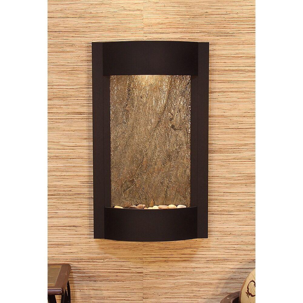 "Adagio Serene Waters 36"" Green Stone Textured Black Wall Fountain - Style # 6X938"