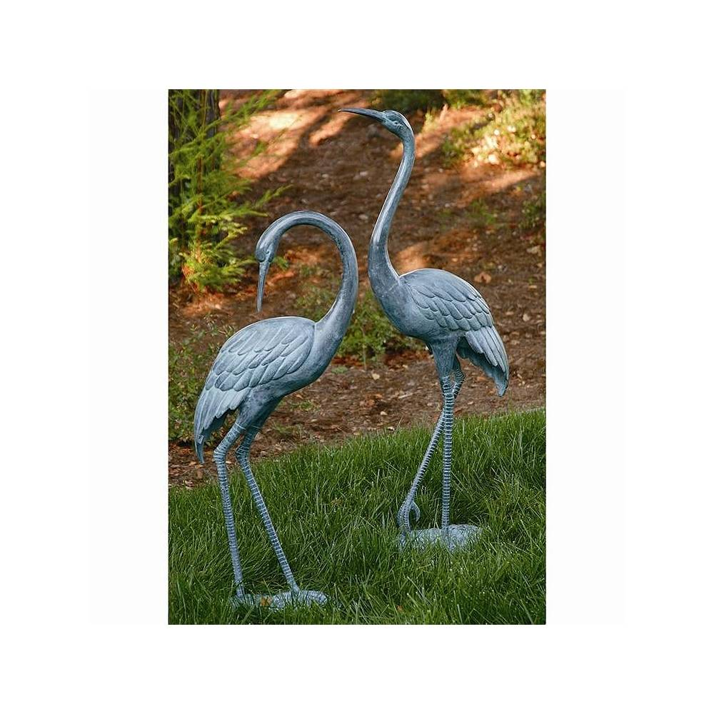 Universal Lighting and Decor Garden Crane Brass Outdoor Statues Set of 2 - Style # 71E56