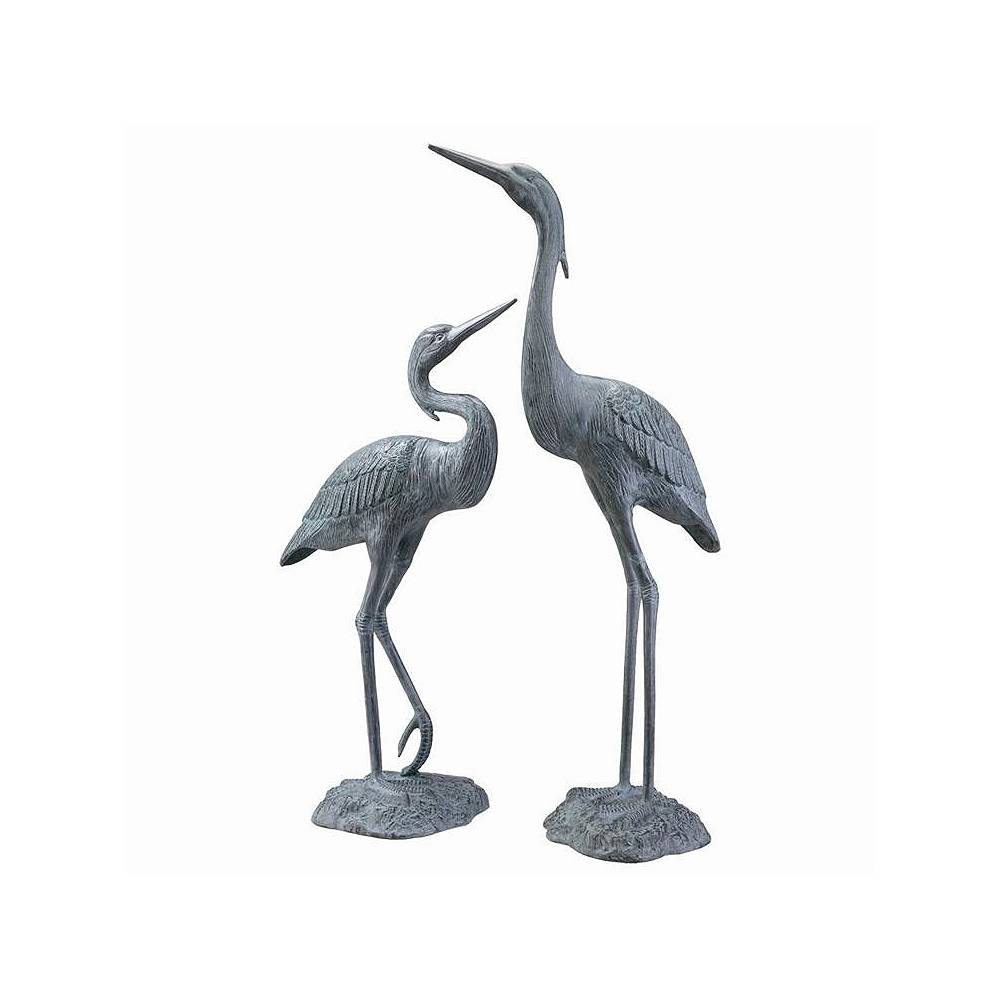 Universal Lighting and Decor Garden Heron Brass Outdoor Statues Set of 2 - Style # 71E61