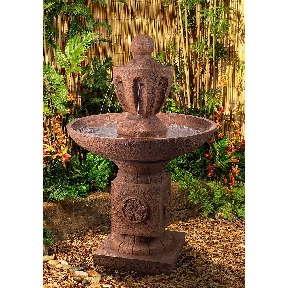 """Kenroy Home Classic Urn 43 1/2"""" High Terracotta Tiered Outdoor Fountain - Style # 78E78"""