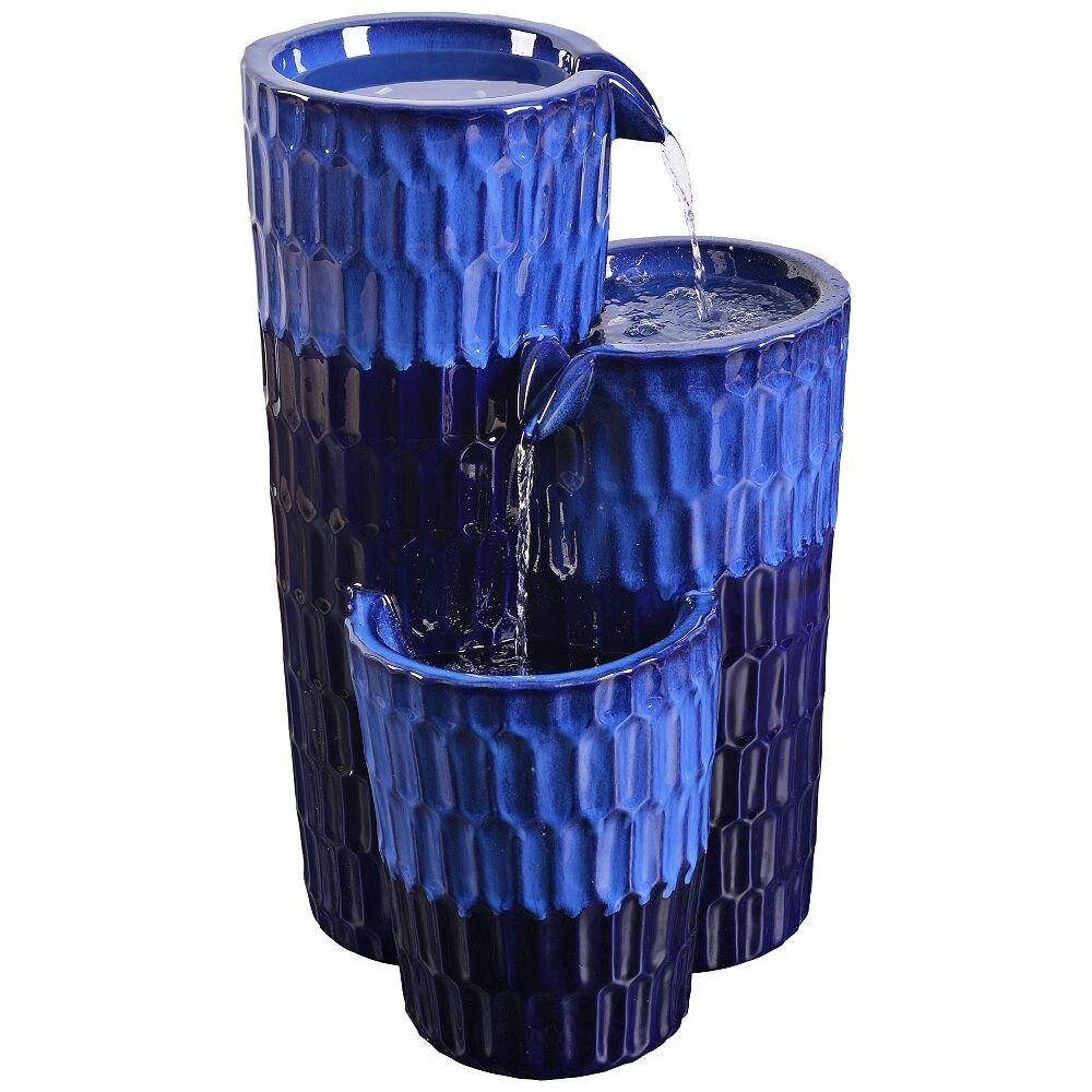 "Kenroy Home Nueva 25"" High Cobalt Blue Ceramic Outdoor Floor Fountain - Style # 78F03"