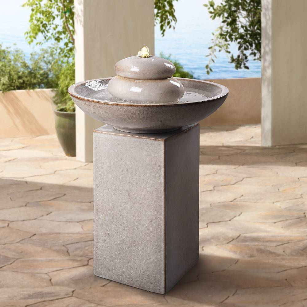 """Kenroy Home Stonewell 29"""" High Ivory Ceramic LED Outdoor Floor Fountain - Style # 78F06"""