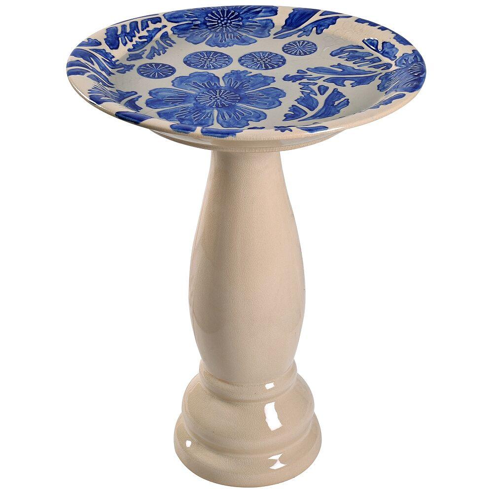 "Kenroy Home Brandy 22"" High Blue Glaze Flower and Vine Ceramic Bird Bath - Style # 78F13"