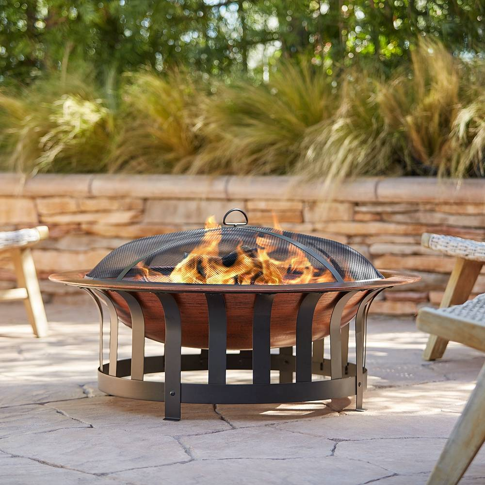 """John Timberland Zurich 40"""" Wide Faux Copper Bowl Outdoor Fire Pit - Style # 79D62"""