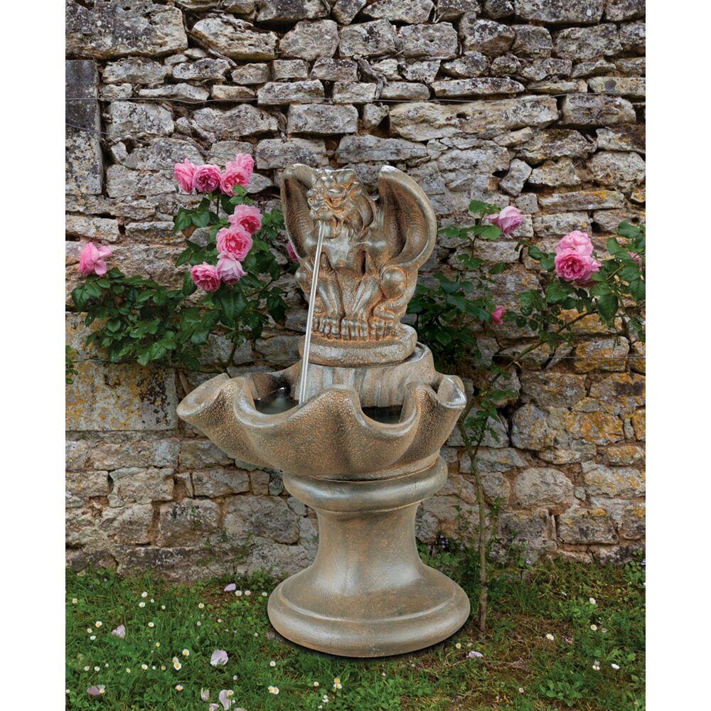 """Henri Studio Gargoyle 28"""" High Sepia Stone Outdoor Garden Fountain - Style # 80886"""