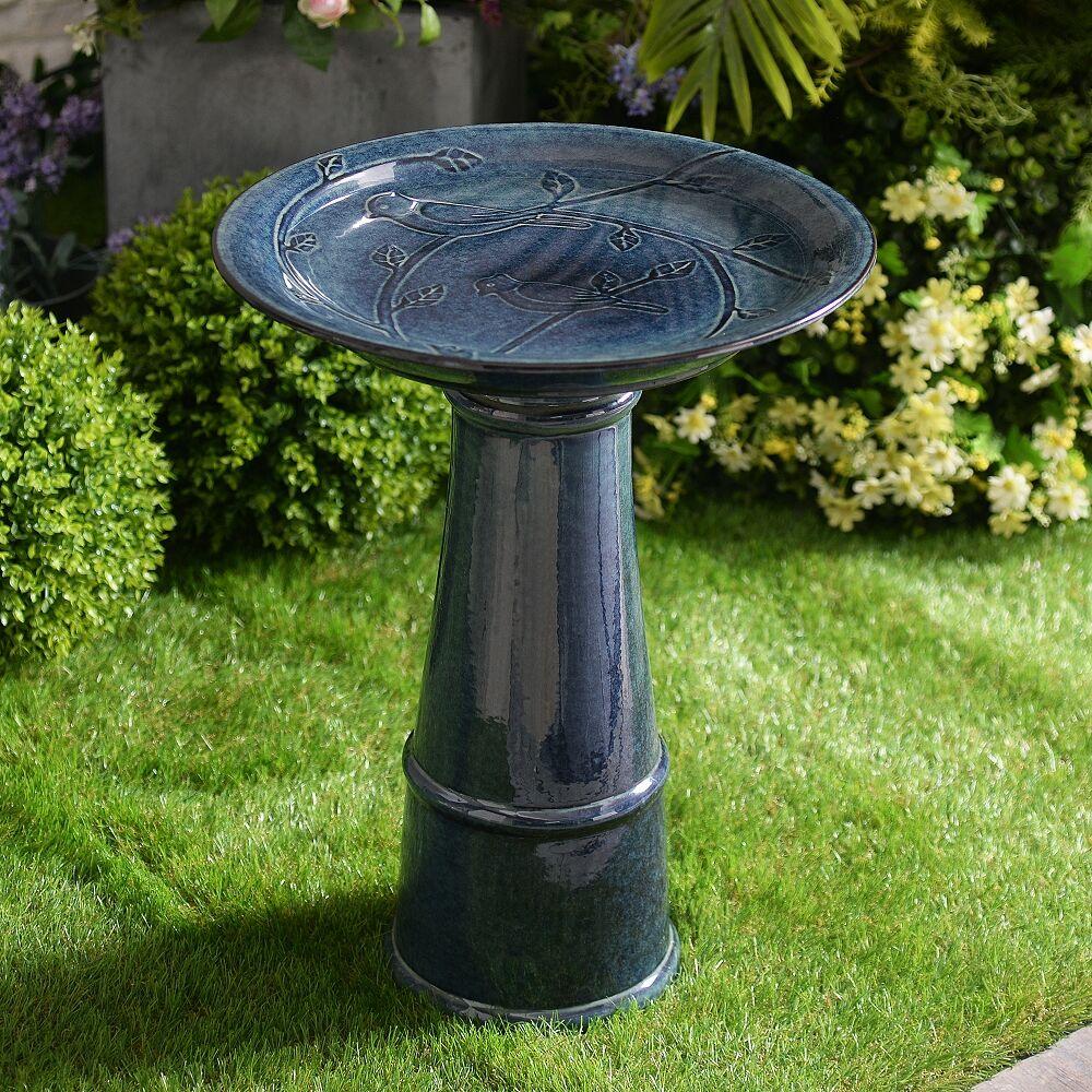 """Kenroy Home Otaki 21 1/2""""H Teal Ceramic Outdoor Bird Bath - Style # 85A38"""