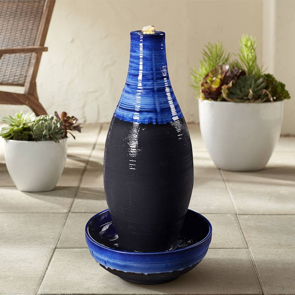 """Kenroy Home Florero 30"""" High Blue and Black LED Bubbler Floor Fountain - Style # 85A47"""