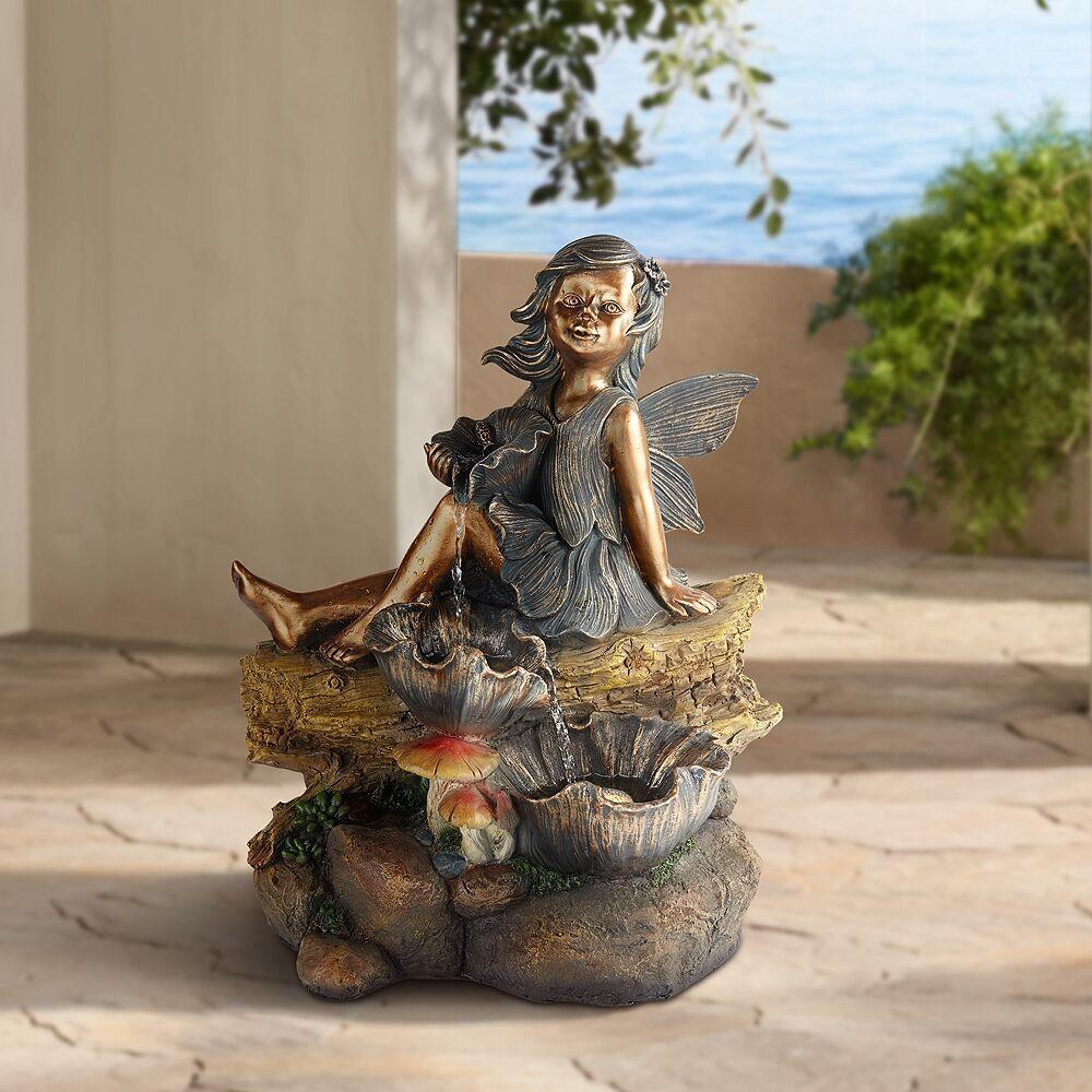 "John Timberland Bronze Garden Fairy 22"" High Fountain with LED Light - Style # 88G55"