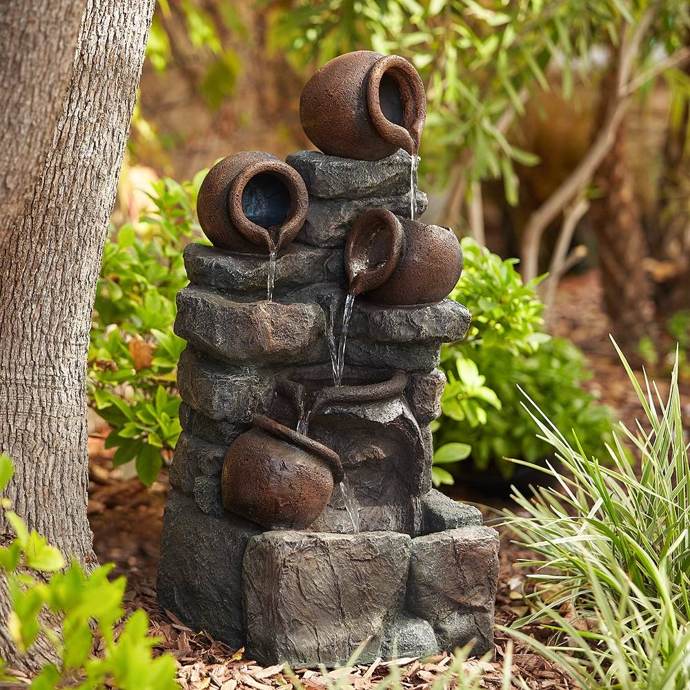 """John Timberland Rustic Pottery 32"""" High Garden Fountain with LED Lights - Style # 88G61"""