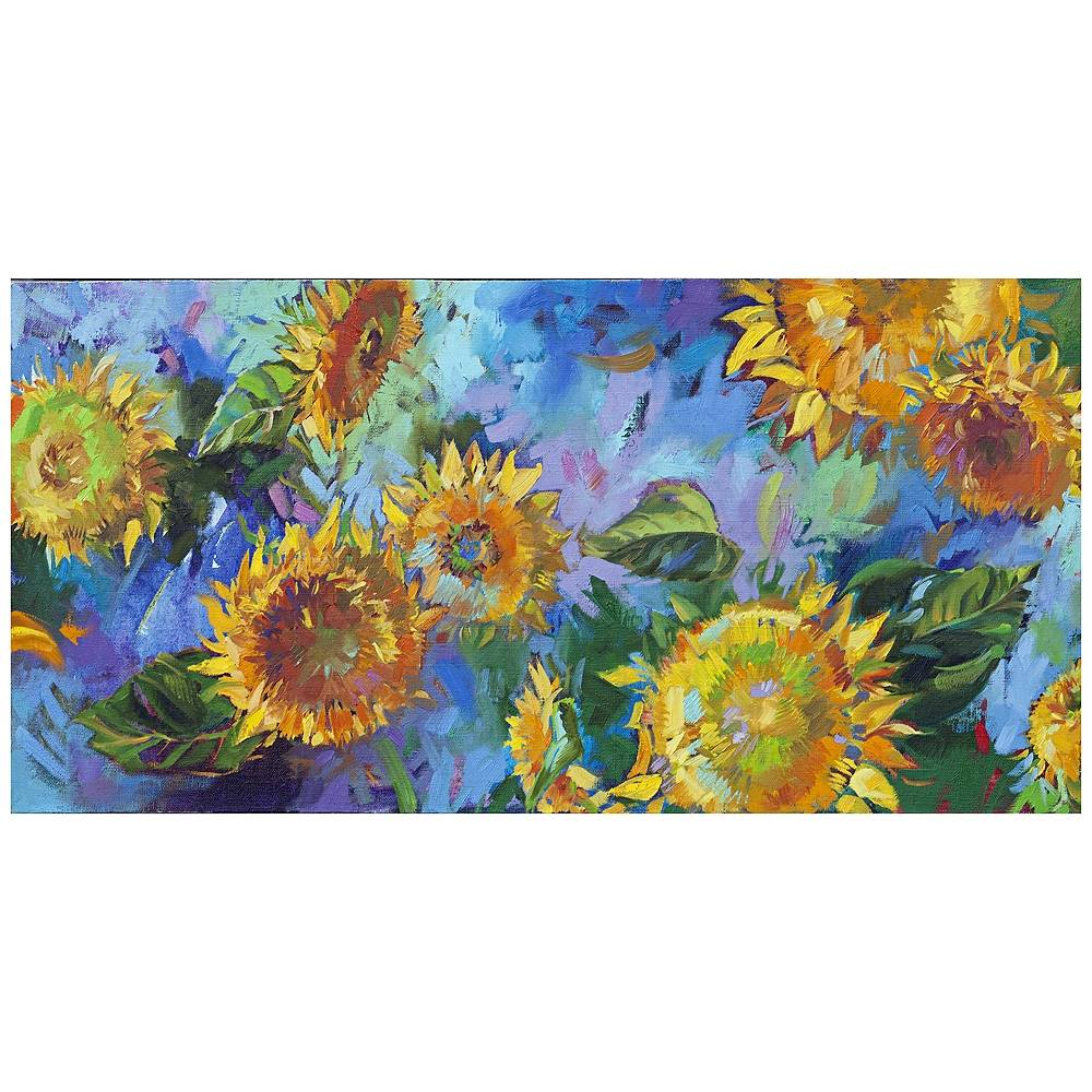 "West of the Wind Joyful 48"" Wide All-Season Indoor Outdoor Canvas Wall Art - Style # 11M08"
