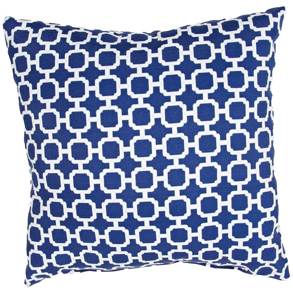 "Jaipur Veranda Chain Blue 18"" Indoor-Outdoor Pillow - Style # 9H920"