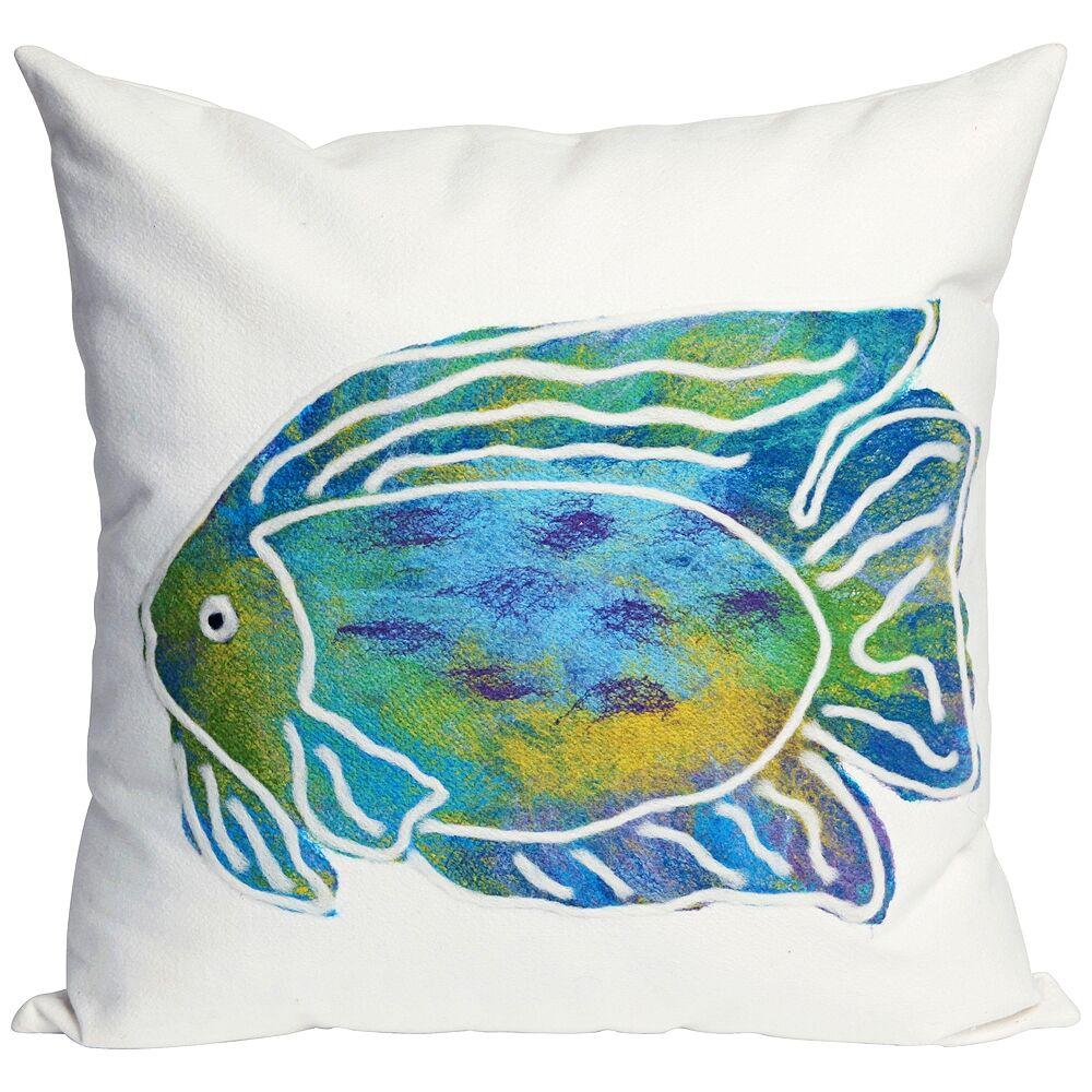 """Trans-Ocean Visions II Batik Fish Aqua 20"""" Square Indoor-Outdoor Pillow - Style # 9K451"""