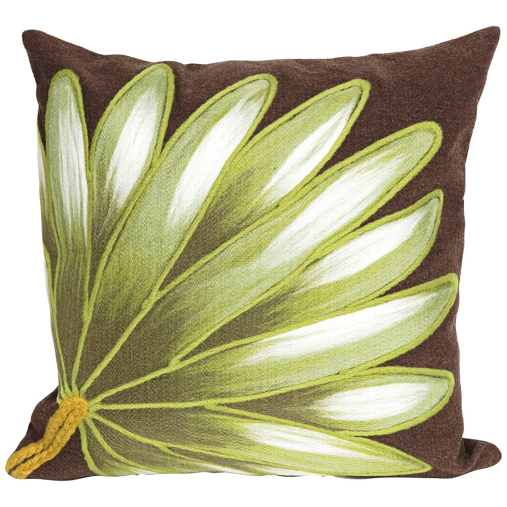 """Trans-Ocean Visions II Palm Fan Chocolate 20"""" Indoor-Outdoor Pillow - Style # 9K678"""