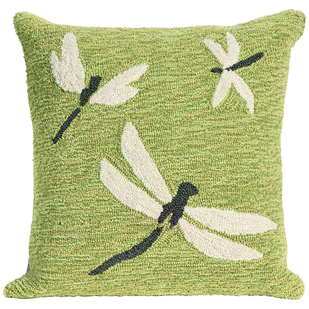 """Trans-Ocean Frontporch Dragonfly Green 18"""" Square Indoor-Outdoor Pillow - Style # 9M208"""