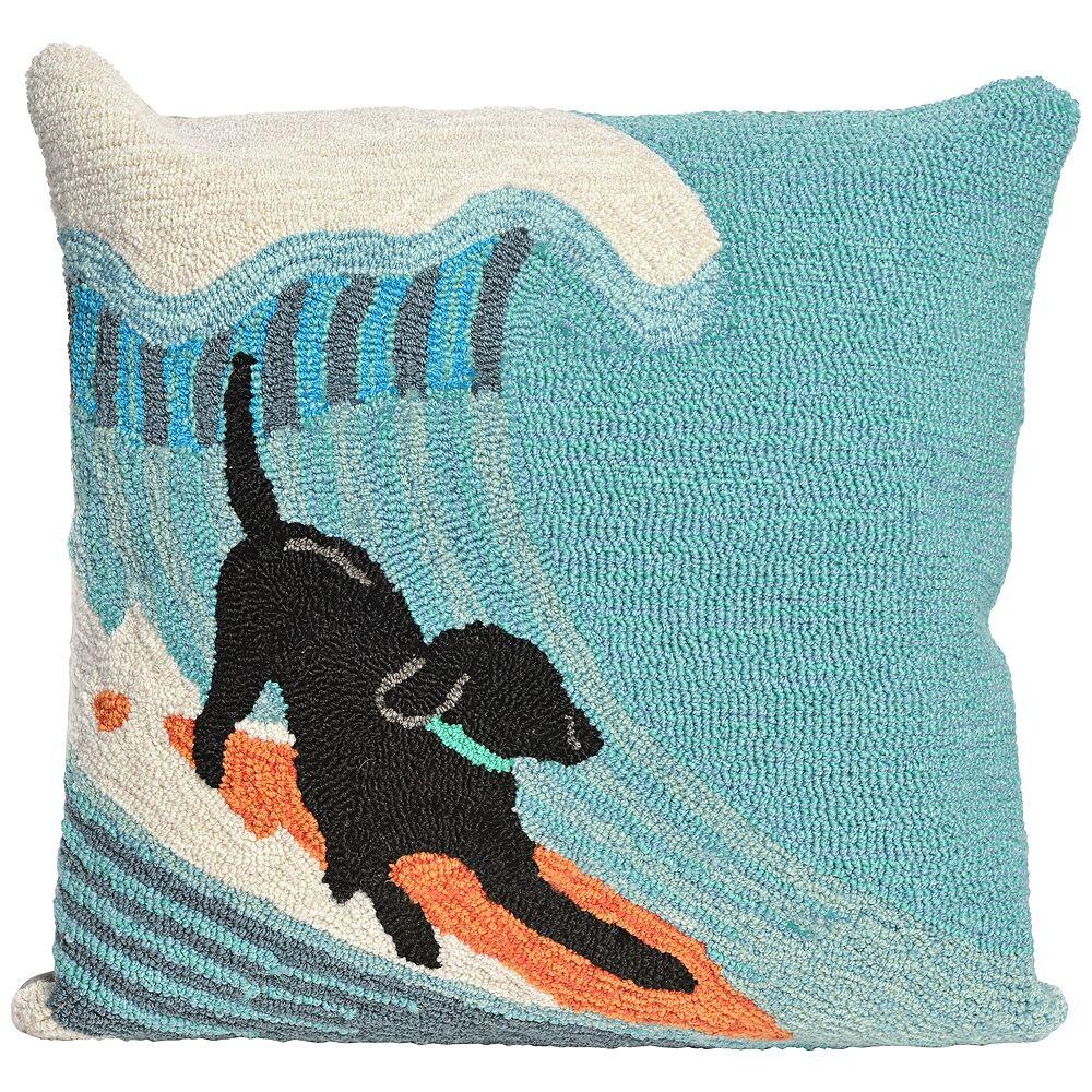 "Trans-Ocean Frontporch Surfing Dog Ocean 18"" Indoor-Outdoor Pillow - Style # 9M227"