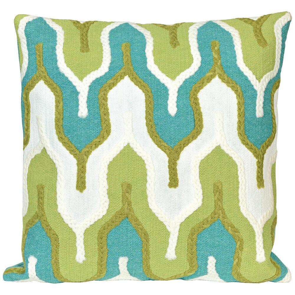 """Trans-Ocean Visions III Crochet Tower Green 20"""" Indoor-Outdoor Pillow - Style # 9M511"""
