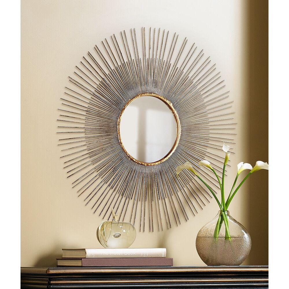 "Cyan Design Pixley Antique Silver Leaf 24 1/2"" Sunburst Wall Mirror - Style # 2K316"