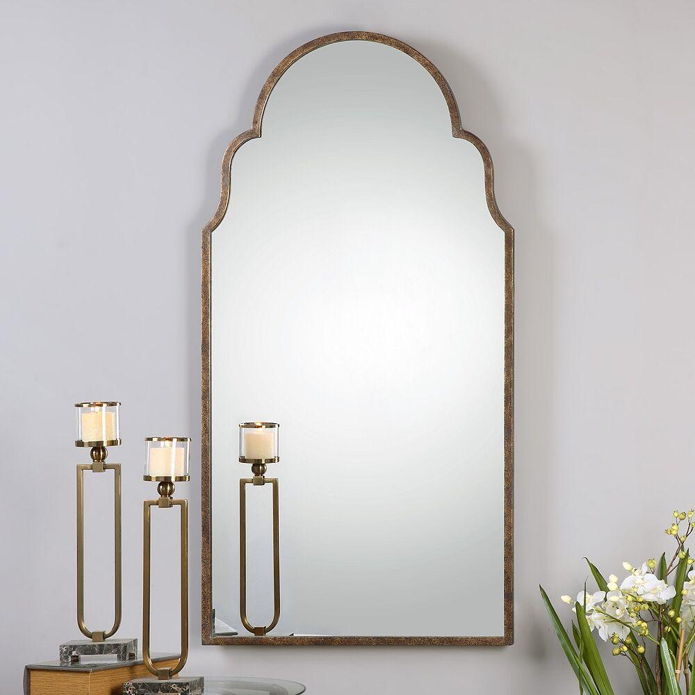 """Uttermost Brayden Bronze Metal 30"""" x 60"""" Arch Wall Mirror - Style # 3G755"""