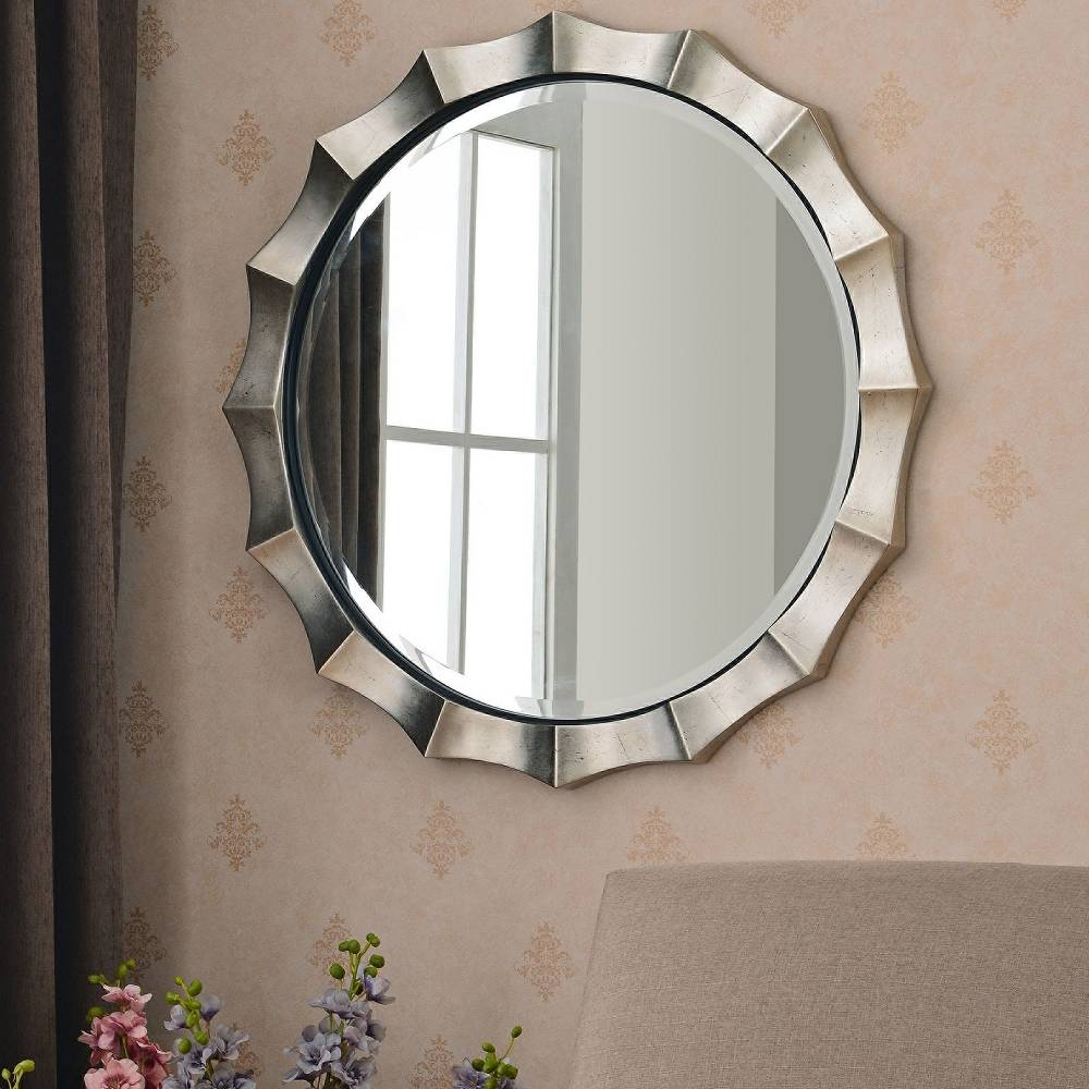 "Kenroy Home Chorale Antique Silver 34"" Round Wall Mirror - Style # 62F16"