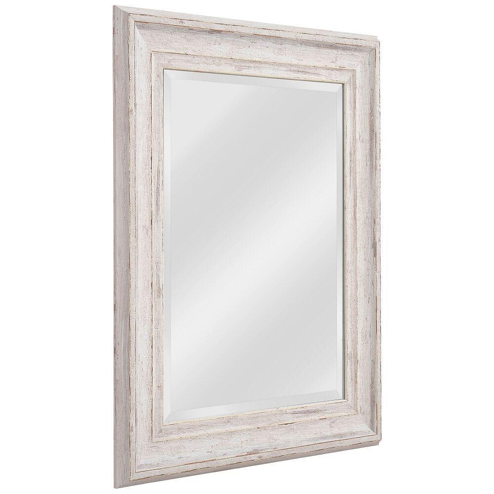 "Kenroy Home Warren Distressed White Wood 25 1/4"" x 31 1/4"" Wall Mirror - Style # 62F78"