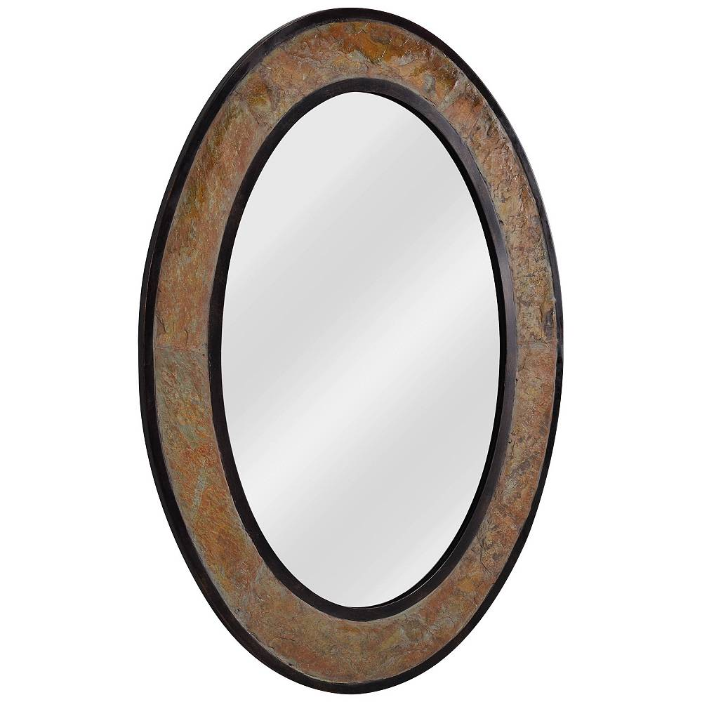 "Kenroy Home Bolton Natural Slate Copper 25 1/2"" x 34"" Oval Wall Mirror - Style # 62X60"