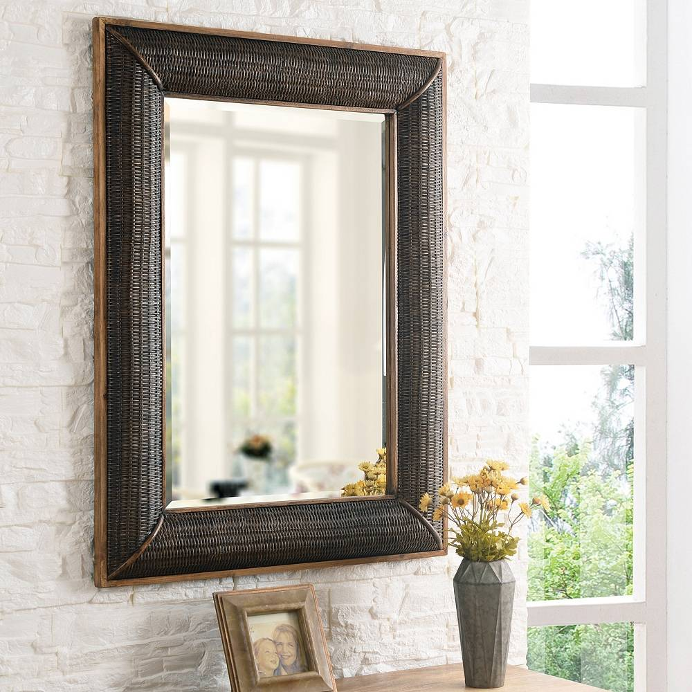 """Kenroy Home Searil Painted Wood and Rattan 30"""" x 40"""" Wall Mirror - Style # 83R24"""