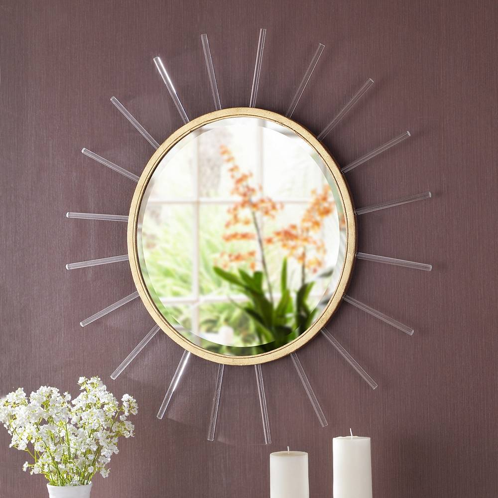 "Kenroy Home Atticus Gold Foil w/ Glass Rods 34 1/4"" Sunburst Wall Mirror - Style # 83R31"
