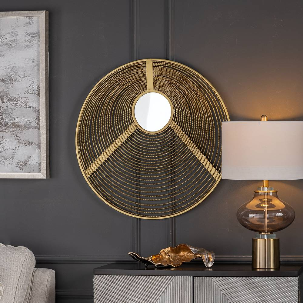 """Crestview Collection Hart Brass Metal 30 1/4"""" Round Wire Asymmetrical Wall Mirror - Style # 87X95"""