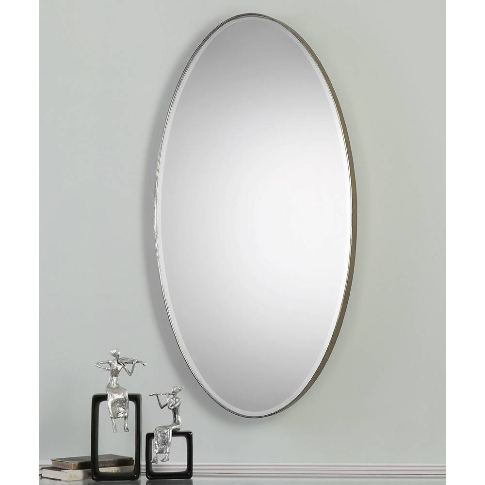 """Uttermost Petra Antique Silver 24 1/4"""" x 48 1/4"""" Oval Wall Mirror - Style # 8H374"""