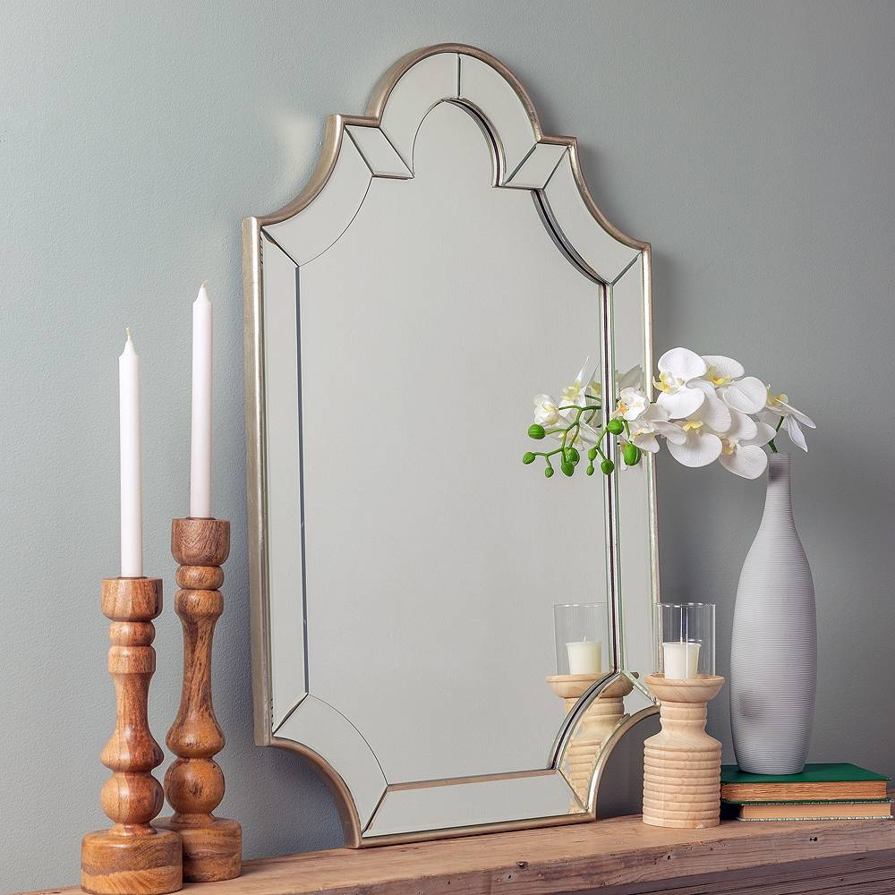 """Cooper Classics Bienville Silver 24"""" x 36"""" Arch Top Wall Mirror - Style # 9W139"""