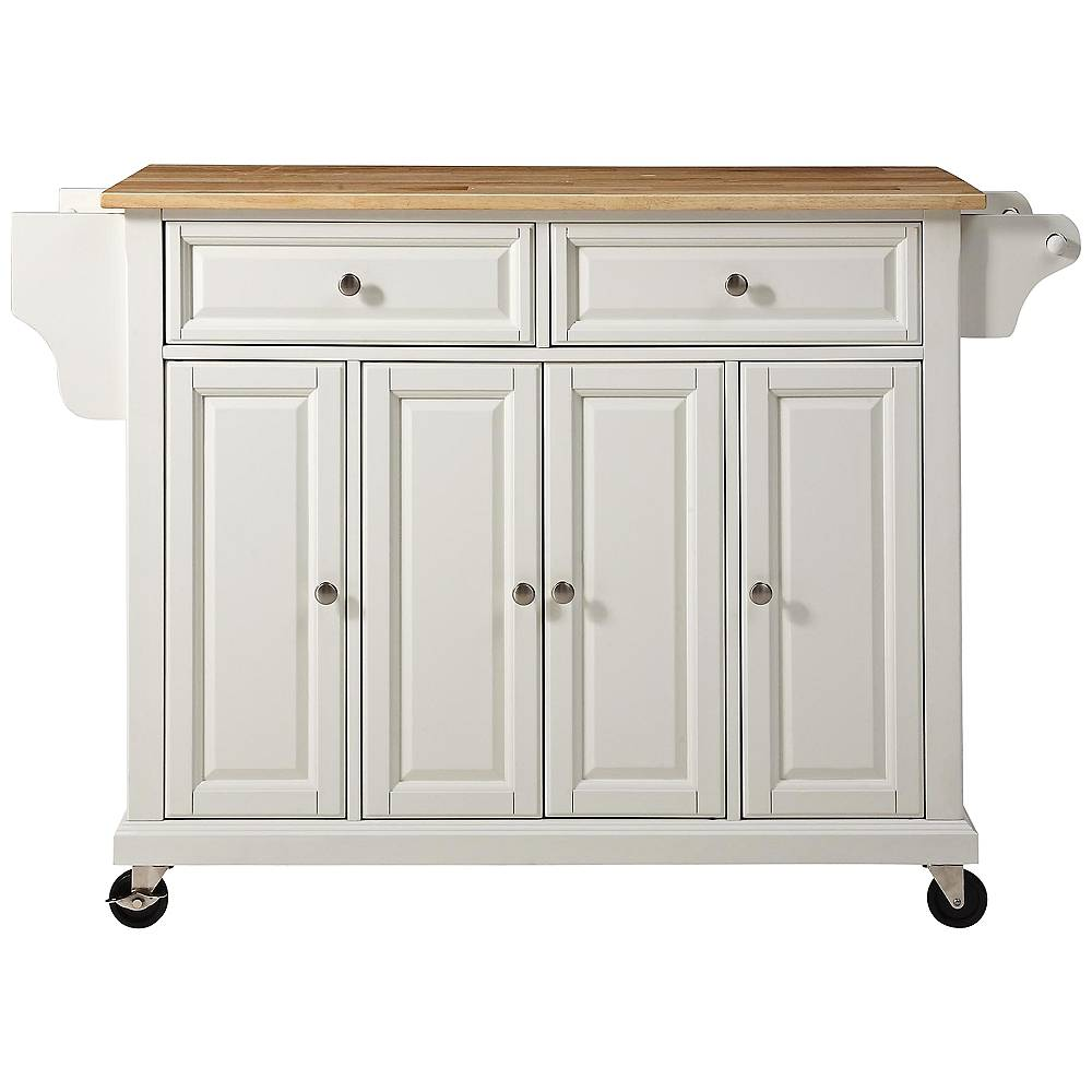 "Crosley Dover 52"" Wide Cutting Board Top White Kitchen Island Cart - Style # 7G978"