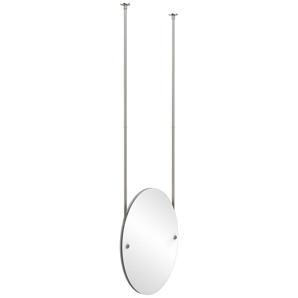 """Avondale Decor Avondale Ceiling-Hung Polished Nickel 21"""" x 29"""" Oval Mirror - Style # 9W210"""
