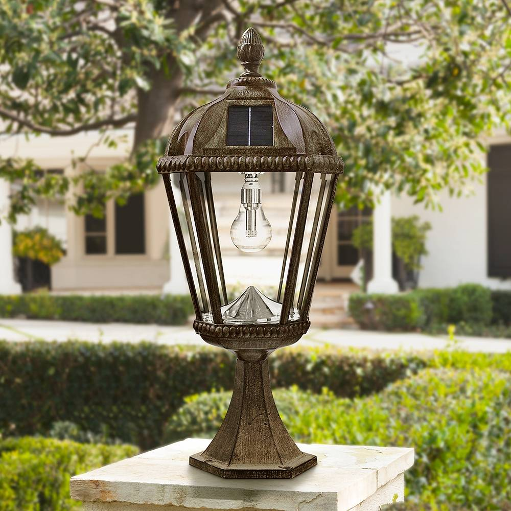 "Gama Sonic Royal Bulb 23""H Bronze Solar LED Outdoor Pier-Mount Light - Style # 13X15"